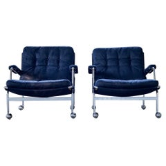 Midcentury Pair of Easy Chairs Model Karin by Bruno Mathsson