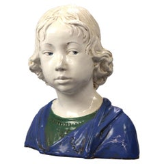 Antique Neoclassical Polychromed Terra Cotta Sculpture Bust of Child, 1910