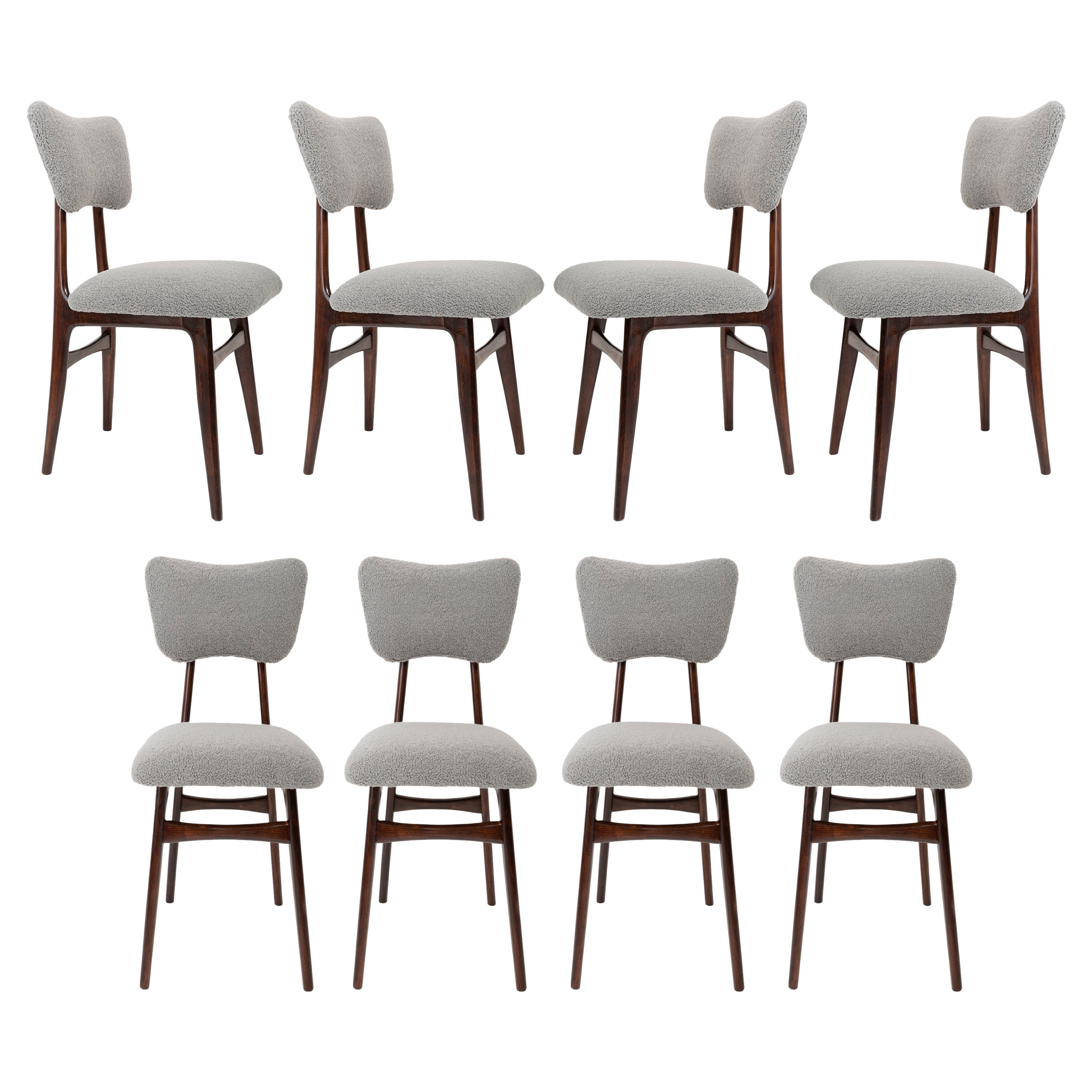 Set of Eight 20th Century Gray Boucle Chairs, 1960s