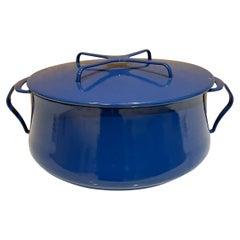 Dansk Designs Blue Enamelware Casserole Pot with Trivet Top IHQ France