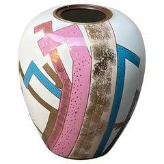 Post Modern Japanese Ceramic Porcelain Planter Vase, Colorful Geometric Pattern