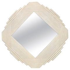 White Bamboo & Wood Geometric Wall Mirror Mid-Century Modern, 1970