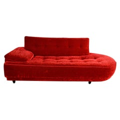 Mid Century Hollywood Regency Art Deco Style Crushed Red Velvet Chaise Lounge