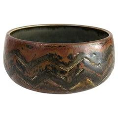 Scandinavian Modern Carl-Harry Stalhane, Hand Thrown Glazed Unique Ceramic Bowl