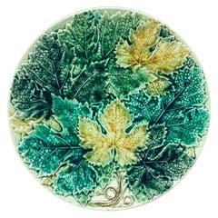 Large Majolica Leaves Plate Wasmuel Circa 1890