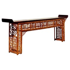 Monumental 19th Century Qing Dynasty Bamboo Altar/Console Table