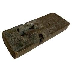 Sculptural Art Piece Petite Bar Rugged Trinket Tray in Rough Textured Bronze