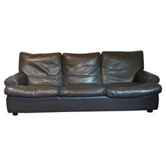 Classic French Art Deco 1930 Style Leather Club Sofa / Couch