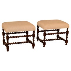 19th Century Pair of Large Upholstered Stools