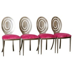 1980s Swirling Dining Chairs in Pink Velvet New Upholstery