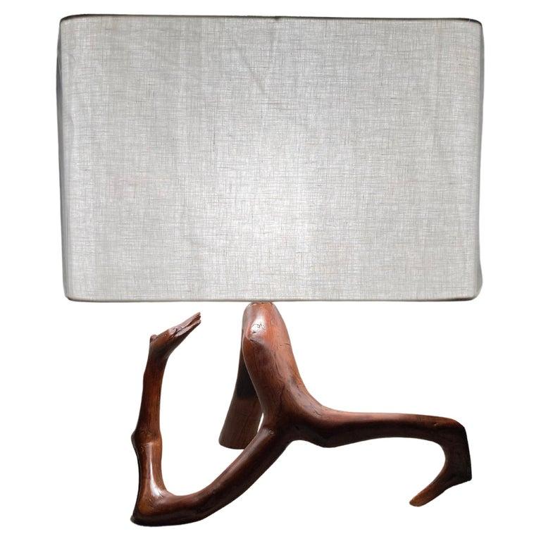 Beautiful Mid Century Table Lamp, Tree, Redwood For Sale