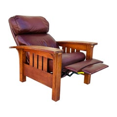 Arts & Crafts Style Oak Bow Arm Lounge Chair by Stickley