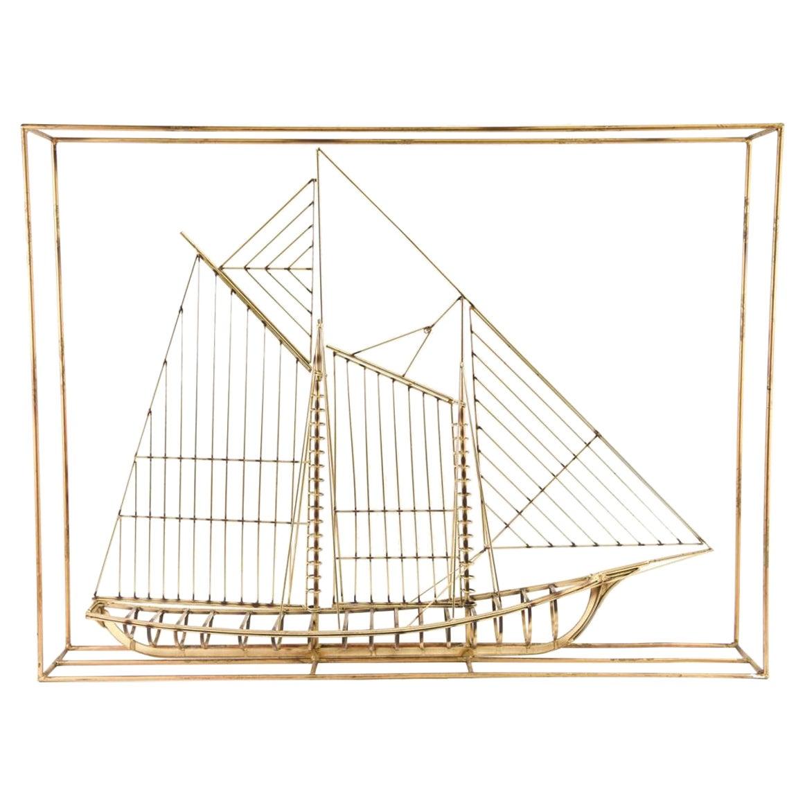 Curtis Jere Brass Ship Sculpture, Signed