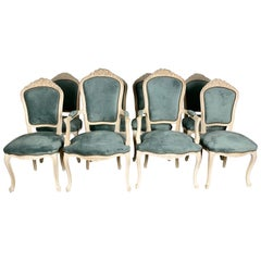 Set of '8' Louis XV Style Dining Chairs W/ Blue Velvet