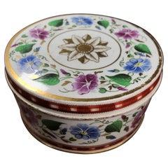 Elegant Pearlware Box, Convolvulus & Gilt Decoration, c. 1825