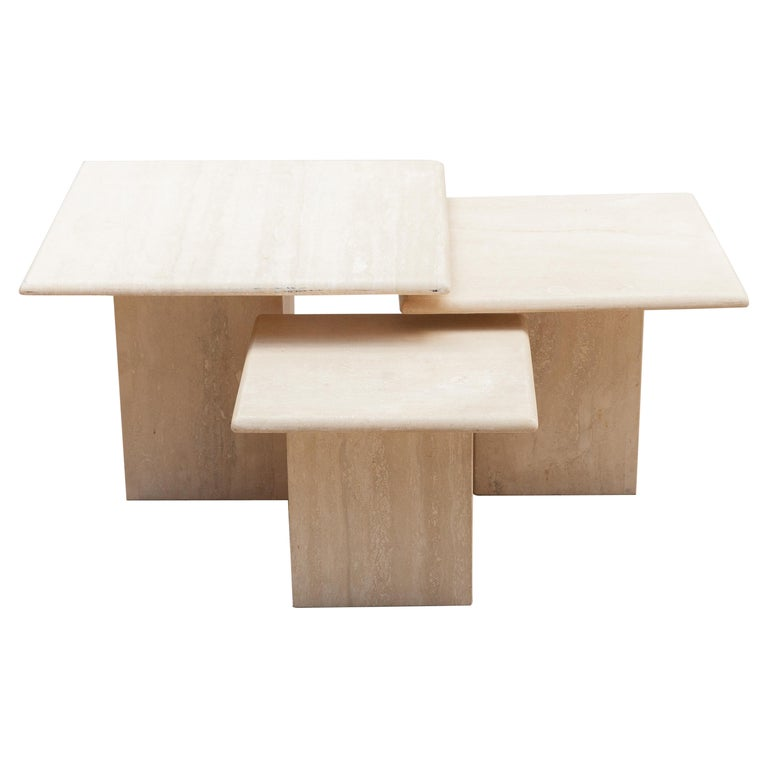 Set of Three Italian Modern Travertine Coffee Tables, Nesting Tables For Sale