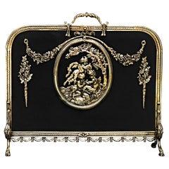 Ornate French Rococo Brass Firescreen