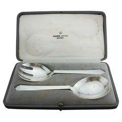 Georg Jensen Ltd. 925 Silver Late Art Deco Pyramid Pattern Salad Servers
