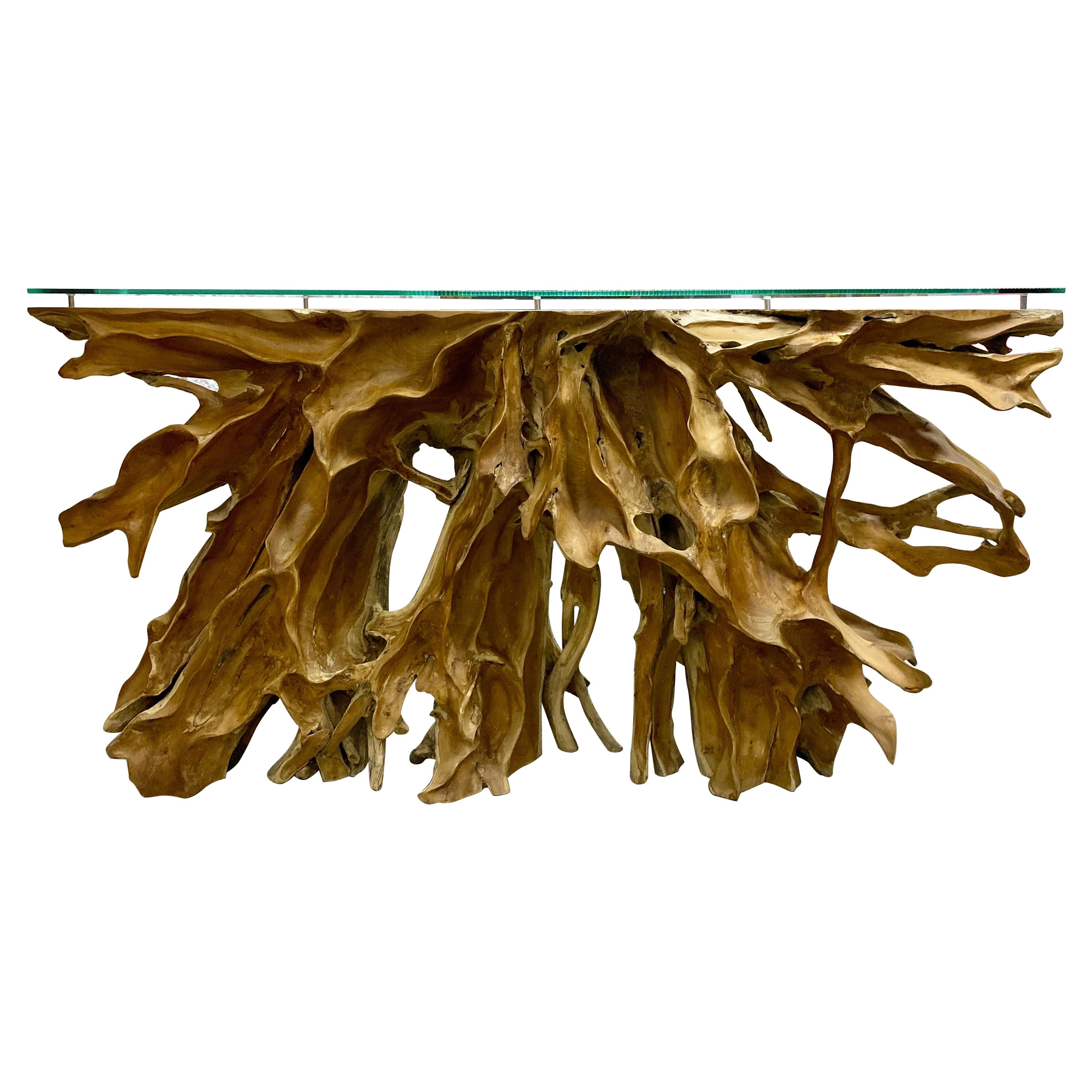 Modern Organic Teak Root Console / Sideboard with Safety Glass Top