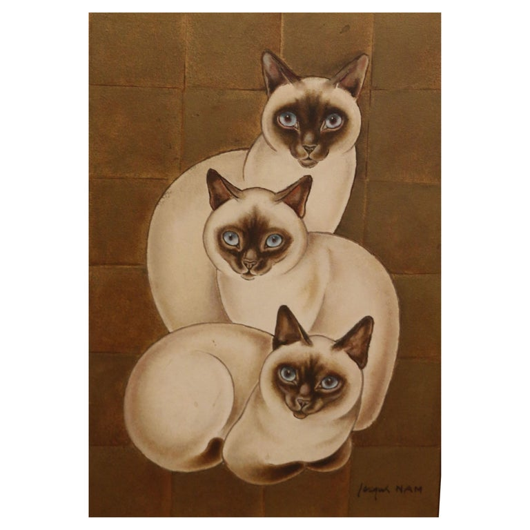 3 Siamese Cats, Oil on Panel by Jacques Nam, France, Art Deco, 1930's For Sale