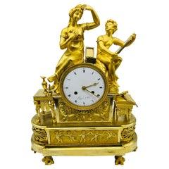 Royal Empire Mantel Clock / Pendulum Clock, Fire-Gilt, Around 1805-1815, Paris