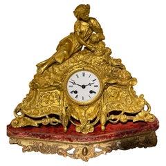 French Mantel Clock / Pendulum Clock, Fire-Gilt, Around 1870-1880