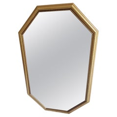 Vintage 1990s Octagonal Gold Wood Frame Clear Wall Mirror