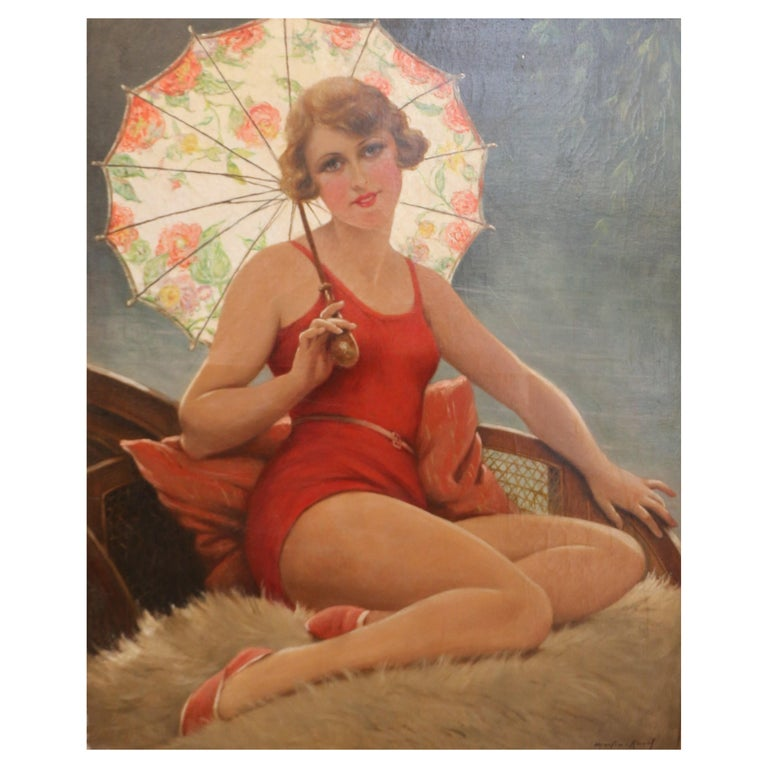 Bather with Sunshade by F. Martin-Kavel, France, Art Deco, 1920's For Sale