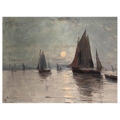 "Malfroy Henri '1895-1942' ""Boat in the moonlight"""