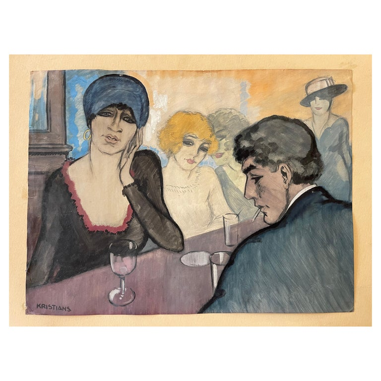 """""""At the Bar"""", Watercolor on Paper by A. J. Kristians, France, Art Déco, 1920's For Sale"""