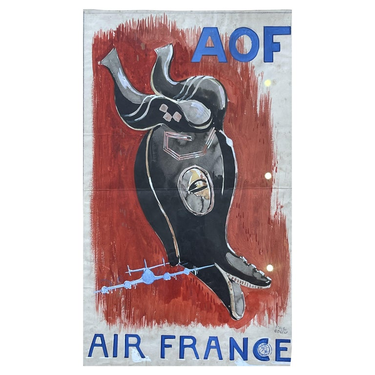Poster Project for Air France, Watercolor on Paper by Paul Colin, France, 1950's For Sale