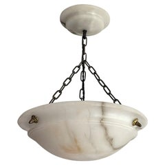 Striking Antique Pendant / Flushmount with Matching Alabaster Shade and Canopy