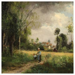 19th Century Oil on Canvas French Antique Signed Landscape Painting, 1890
