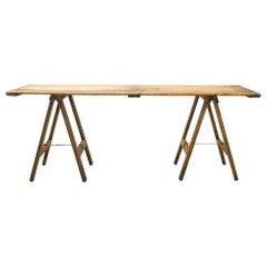 1950s Belgian Industrial Sawhorse Table