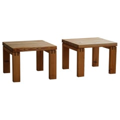 Pair of Danish Modern Brutalist Side Tables in Solid Pine, Made by Nytibo, 1970s
