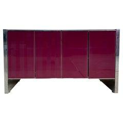 Milo Baughman for Thayer Coggin Credenza Glass Chrome 4 Door Purple