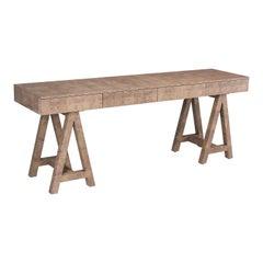 Light Caramel Croco Coated Wood Mannah Office Desk
