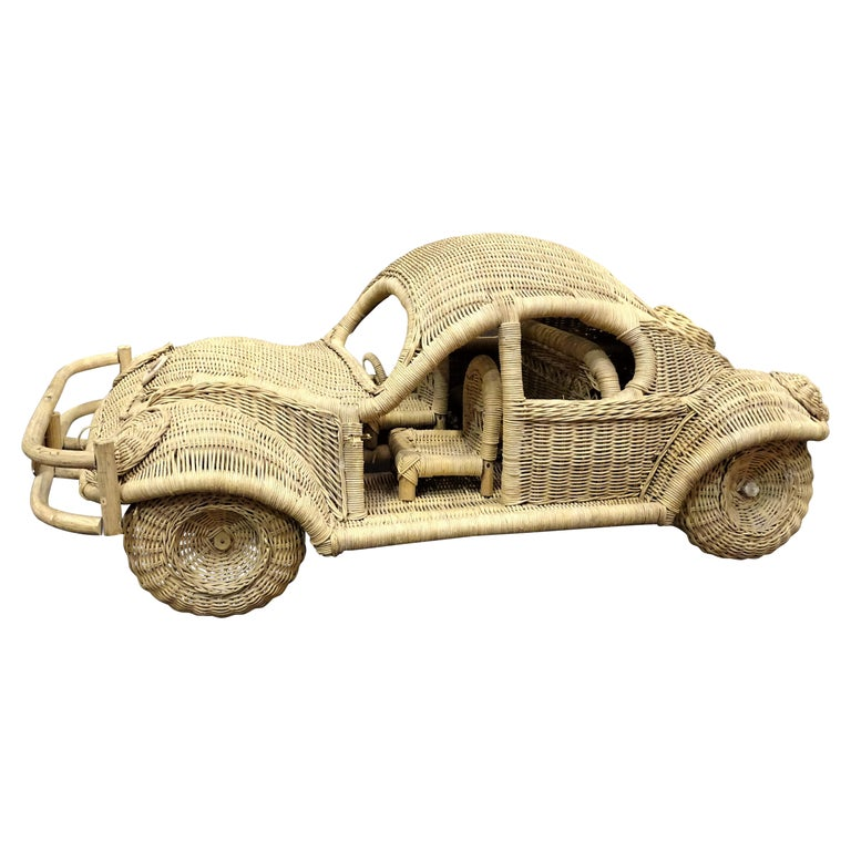 60s Beetle Car Rattan Sculture, Toy , Italy For Sale