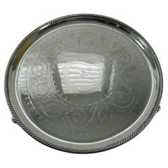 Victorian Silver Plated Drinks Salver / Tray by Elkington & Co., 1877