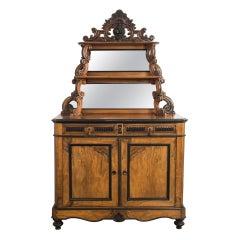 1880s French Mahogany Buffet with Mirror