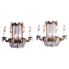 French Style Gilt Bronze & Crystal Four-Light & Mirrored Wall Sconces, 20th C