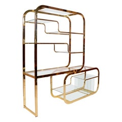 Brass and Glass Etagere by Milo Baughman for Morex of Italy