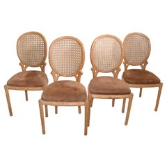 Set of 4 Fratelli Boffi Milano Wood & Cane Dining Chairs Mid-Century Modern 1970
