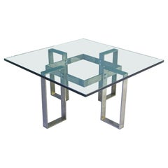 Vintage French Modern Glass & Nickel Coffee Table, 1970s