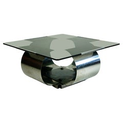 Square Glass and Steel Coffee Table by Francois Monnet, France, 1970s