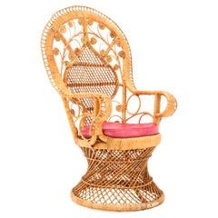Vintage Rattan Wicker Emmanuelle Peacock Chair, 1970s