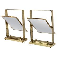 Late 20th Century Pair of Italian Brass Tilting Table Mirrors