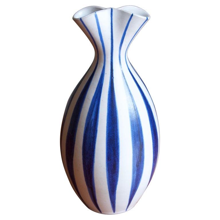 Mette Doller, Vase, Hand Painted Stoneware, Andersson & Johansson Höganäs, 1960s For Sale