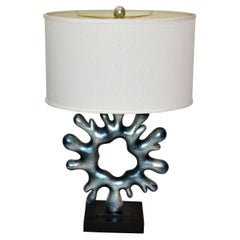 Vintage Ice Blue Resin Biomorphic Shape Abstract Art Table Lamp & Oval Shade 70s