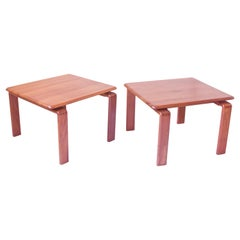 Vintage Pair of Danish Solid Teak Side Tables with Finger Joinery, 1960s